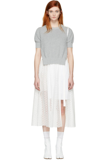 Sacai - White Dot Lace Dress