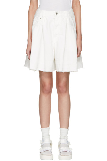 Sacai - White Denim Shorts