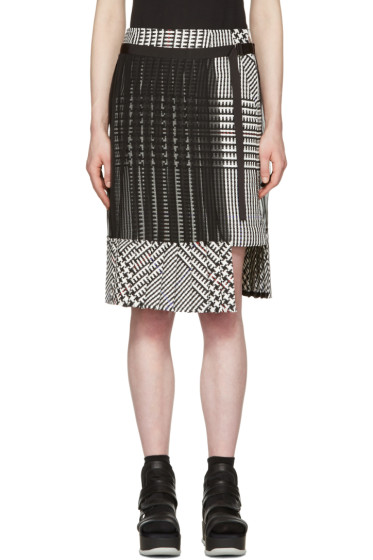 Sacai - Black & White Check Pleated Skirt