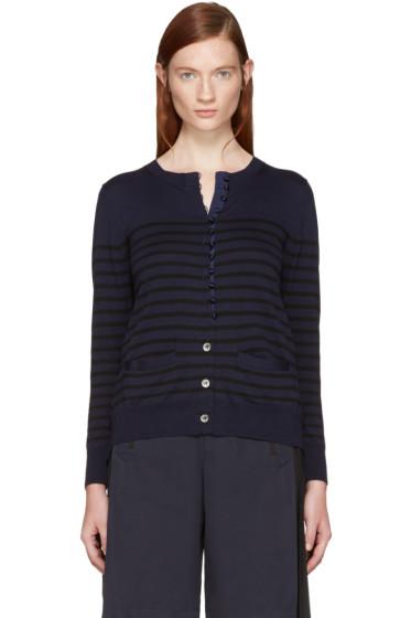Sacai - Navy Striped Knit Cardigan