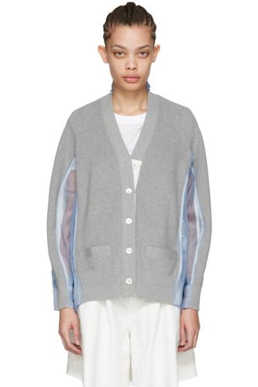 Sacai - Grey Organza Striped Cardigan