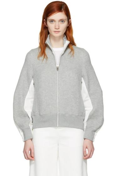 Sacai - Grey Zip-Up Sweater