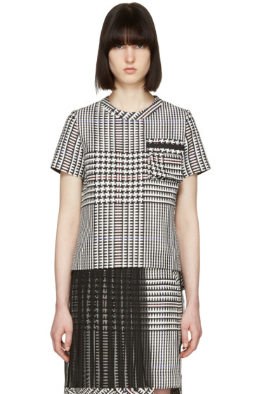 Sacai - Black & White Check Pleated T-Shirt