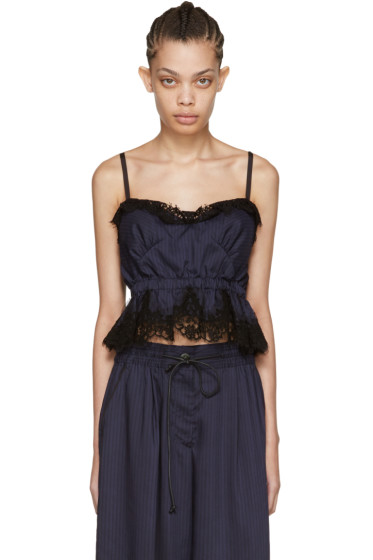 Sacai - Navy Striped Lace Camisole