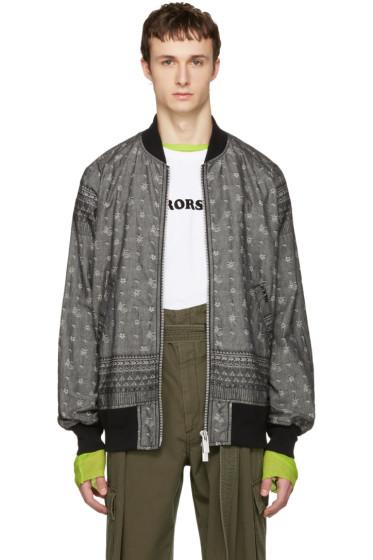 Sacai - Grey Jacquard Dungaree Bomber Jacket