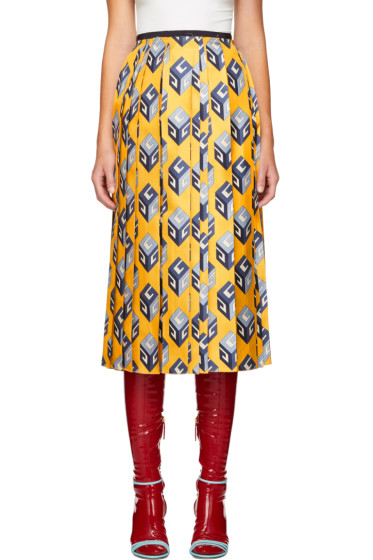 Gucci - Yellow GG Wallpaper Skirt