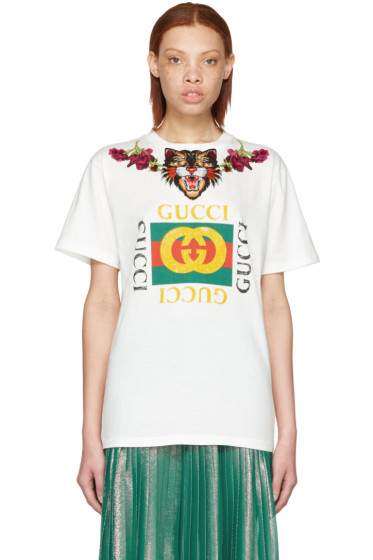 Gucci - White 'Loved' Angry Cat Logo T-Shirt