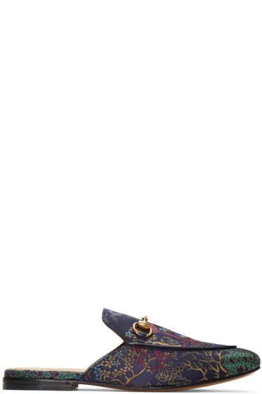 Gucci - Navy Donald Duck Princetown Slip-On Loafers