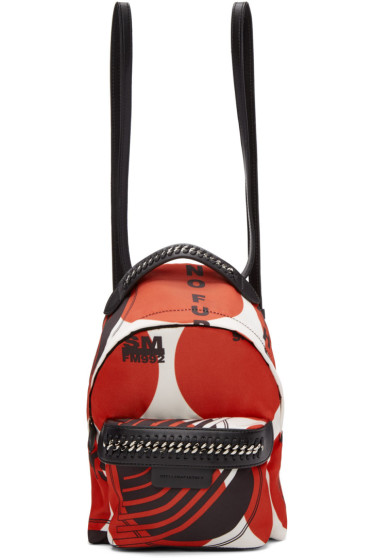 Stella McCartney - Red 'Thanks Girls' Mini Falabella GO Backpack