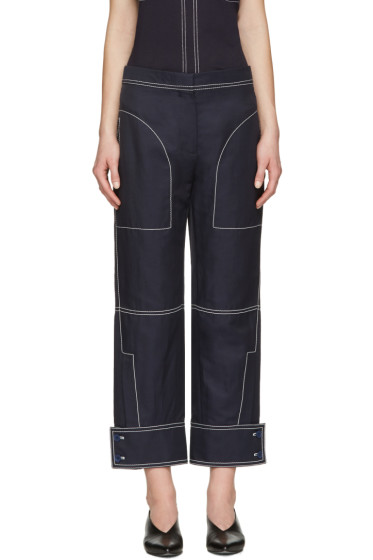Stella McCartney - Navy Buttoned Cuff Stitching Trousers