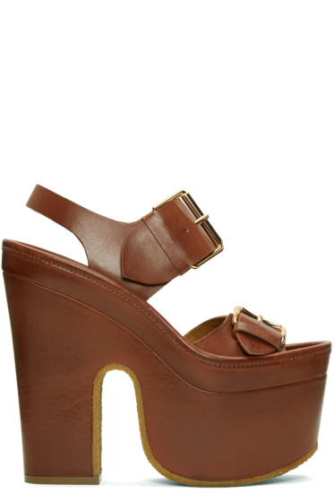 Stella McCartney - Brown Platform Buckles Sandals