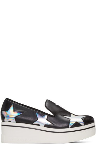 Stella McCartney - Black Binx Holographic Stars Loafers