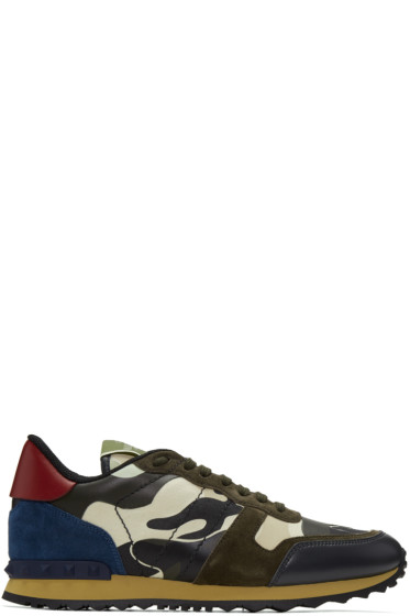 Valentino - Off-White & Brown Camo Rockrunner Sneakers