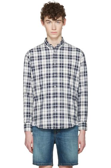 AMI Alexandre Mattiussi - Navy Tartan Oxford Shirt