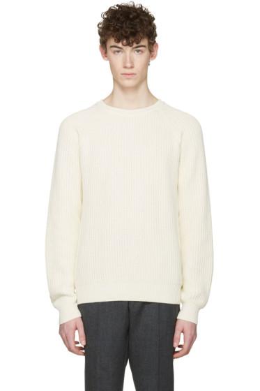 AMI Alexandre Mattiussi - Off-White Ribbed Sweater