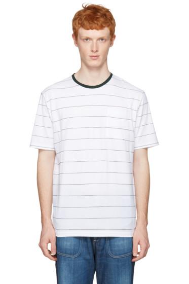 AMI Alexandre Mattiussi - White & Green Striped T-Shirt
