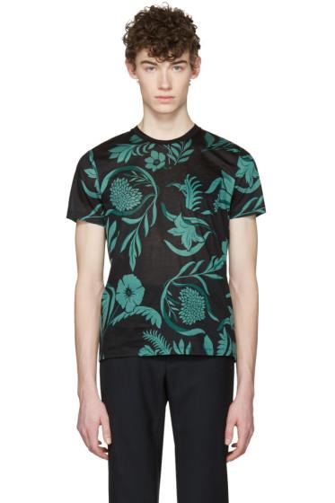 AMI Alexandre Mattiussi - Black & Green Floral T-Shirt
