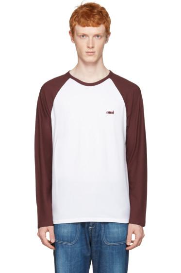 AMI Alexandre Mattiussi - Burgundy Baseball T-Shirt
