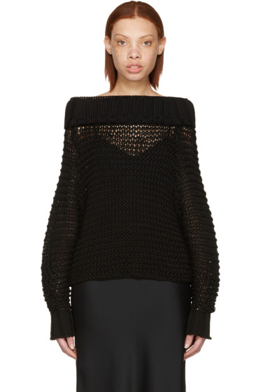Calvin Klein Collection - Black Ebner Off-the-Shoulder Sweater