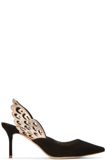 Sophia Webster - Black Angelo Mid Slingback Heels