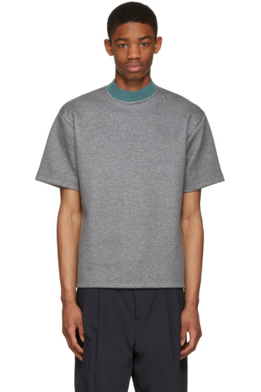 Kolor - Grey Mock Neck T-Shirt