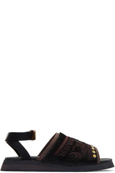 Kolor - Black Embroidered Sandals