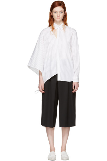 Facetasm - White Pinstripe Asymmetry Shirt