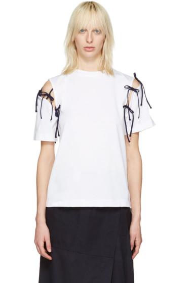 Facetasm - White Tie Shoulder T-Shirt