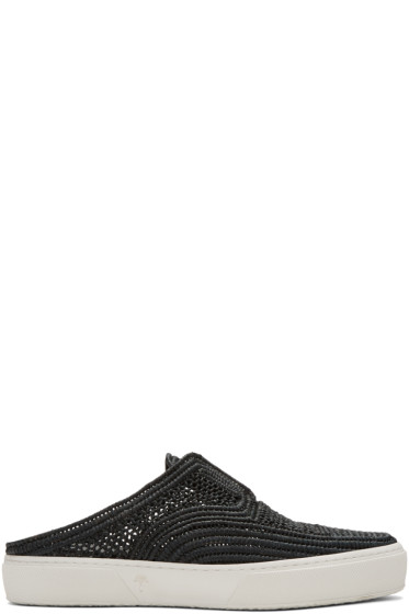 Robert Clergerie - Black Teller Straw Stitch Slip-On Sneakers