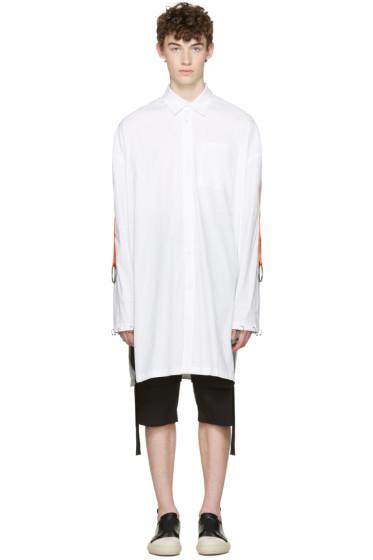 D.Gnak by Kang.D - White Oversized Straps & Rings Shirt