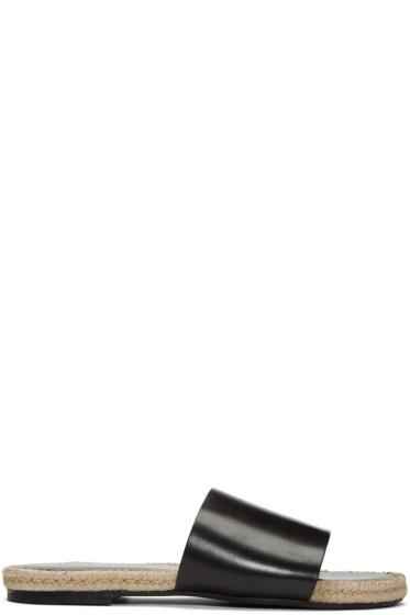 Haider Ackermann - ブラック レザー スライド サンダル