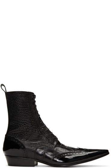 Haider Ackermann - ブラック ブローグ ブーツ