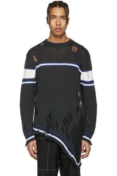 Miharayasuhiro - Grey Striped Distressed Sweater