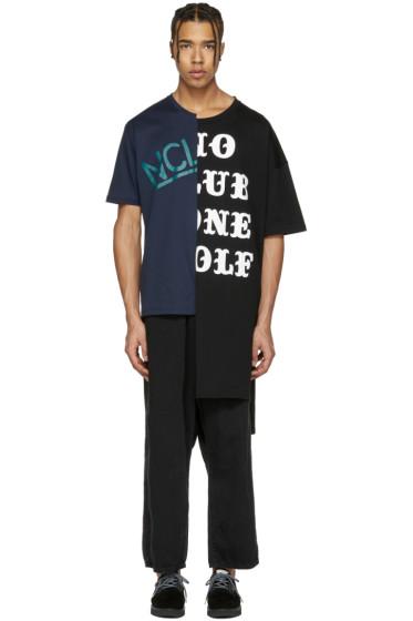 Miharayasuhiro - Black & Navy Patchwork T-Shirt