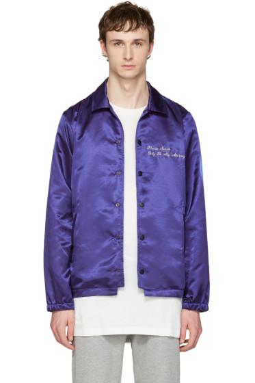 Pyer Moss - Blue 'Attorney' Windbreaker Bomber Jacket