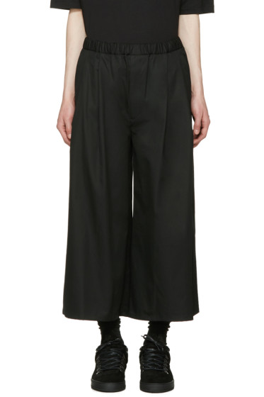 Lad Musician - Black Tuck Wide Cropped Trousers