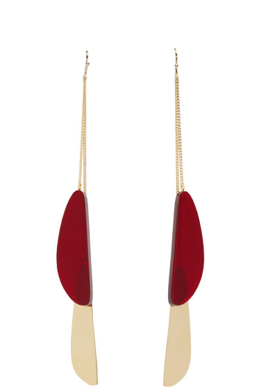 Isabel Marant - Gold & Red Double Pendant Earrings