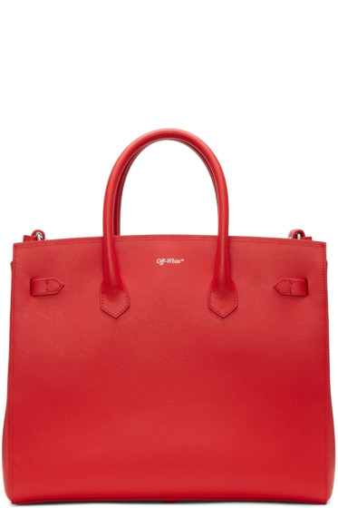 Off-White - Red Small Cut Flap Tote