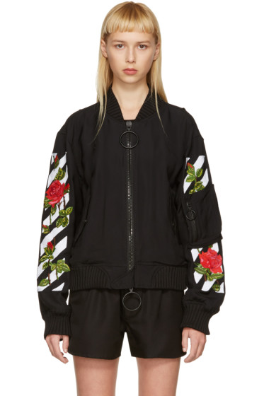 Off-White - Black Diagonal Roses Bomber Jacket