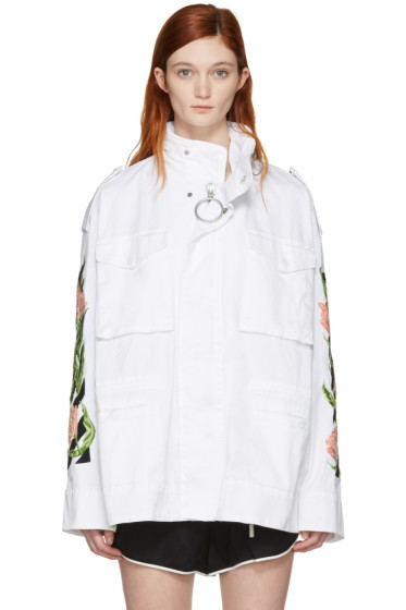 Off-White - White Diagonal Tulips M65 Jacket
