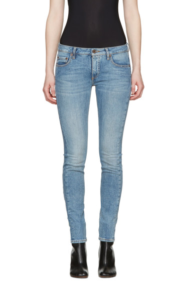 Off-White - Blue Diagonal Roses Skinny Jeans