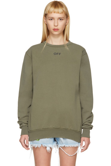 Off-White - Green Washed Crewneck Pullover