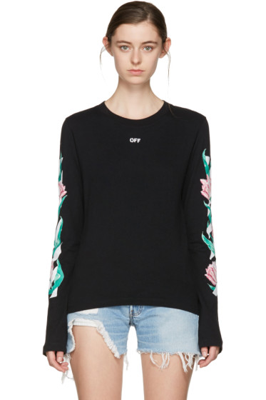 Off-White - SSENSE Exclusive Black Diagonal Tulips T-Shirt