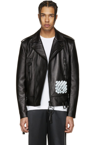 Off-White - Black Leather Diagonal Carryover Biker Jacket