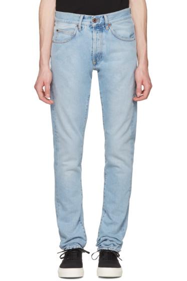 Off-White - Blue Slim Spray Diagonal Jeans