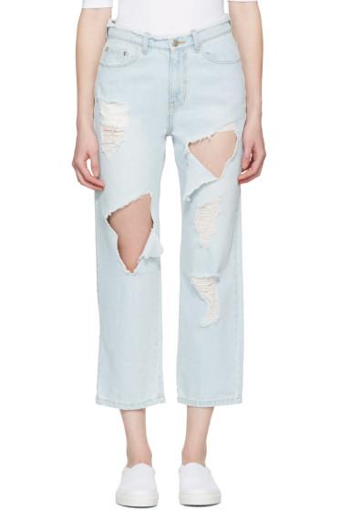 SJYP - Blue Destroyed Cut-Out Jeans