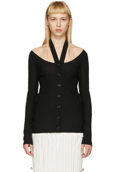 Lemaire - Black Knit Off-the-Shoulder Cardigan