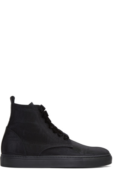 AD Ann Demeulemeester - Black Ribbed Textile High-Top Sneakers