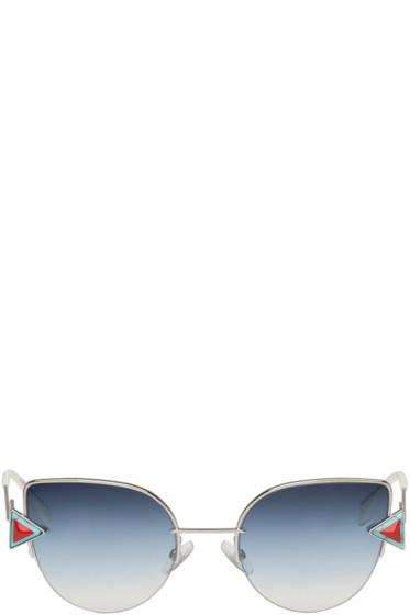 Fendi - Silver Rainbow Cat-Eye Sunglasses