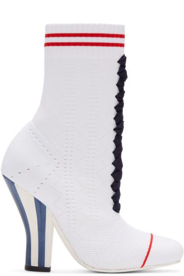 Fendi - White Stretch Sock Boots